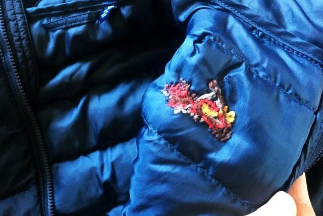 ユニクロナイロンジャケットに刺繍,1シーズン着用後の裏