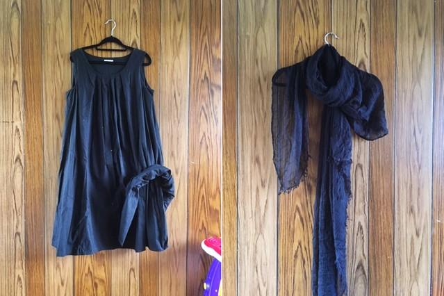 手作りロングギャザースカート,リメイク素材のワンピースとスカーフ