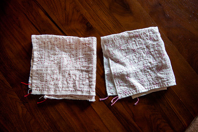 刺し子花ふきん手作り,紗綾型模様と重ね十字つなぎ模様