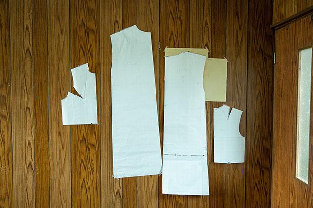 ワイドラインワンピースの型紙パターン