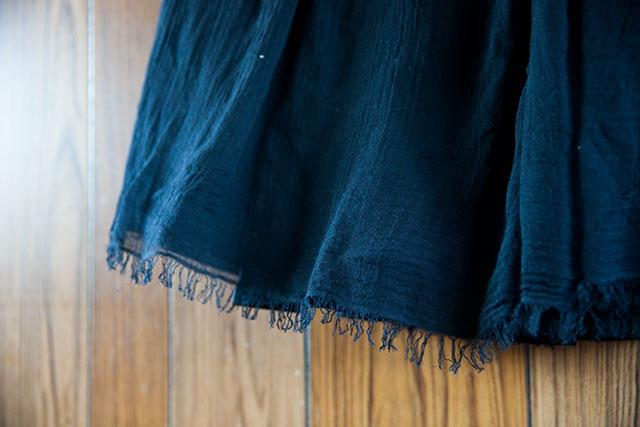 手作りロングギャザースカート,ブラック,生地二重