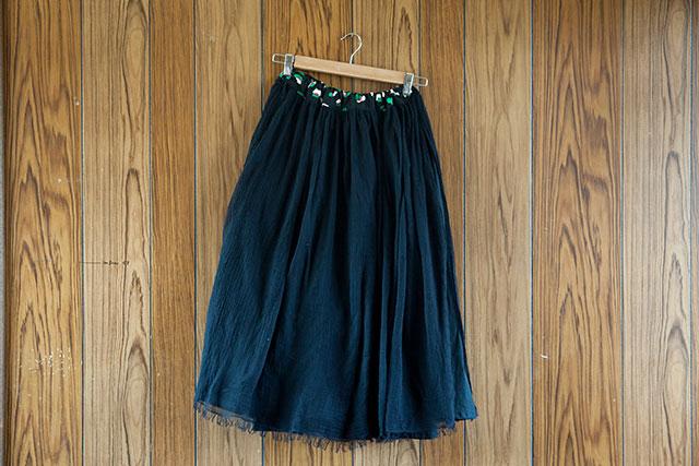 手作りロングギャザースカート,ブラック