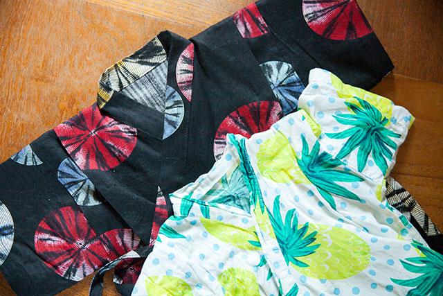 大人用浴衣リメイクこども甚平,既製品との衿もと比較