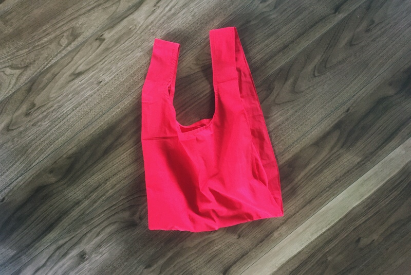 コットン素材のレジ袋再現エコバッグ,ハンドメイド,赤