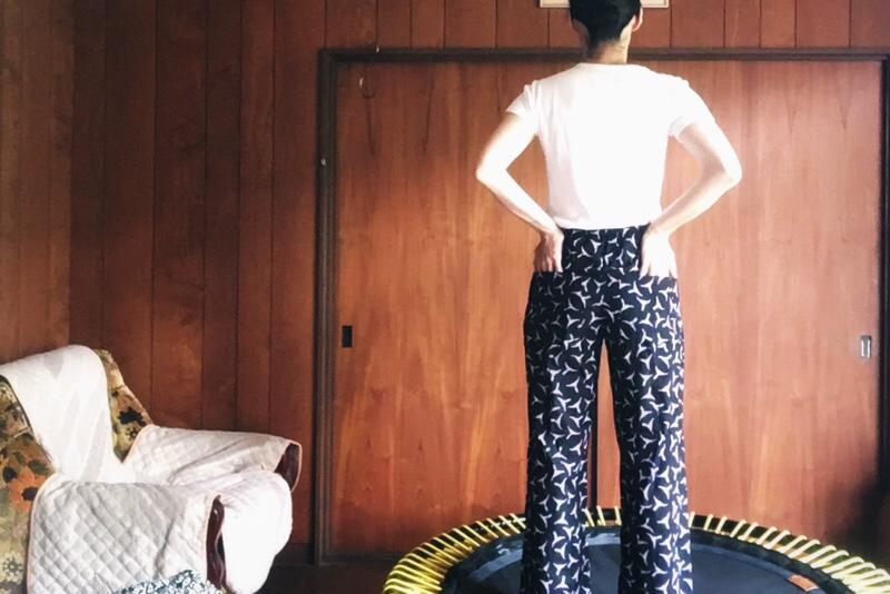 綿ローン,ハンドメイド,パジャマ,ズボン,着用画像,Check&Stripe,パターン