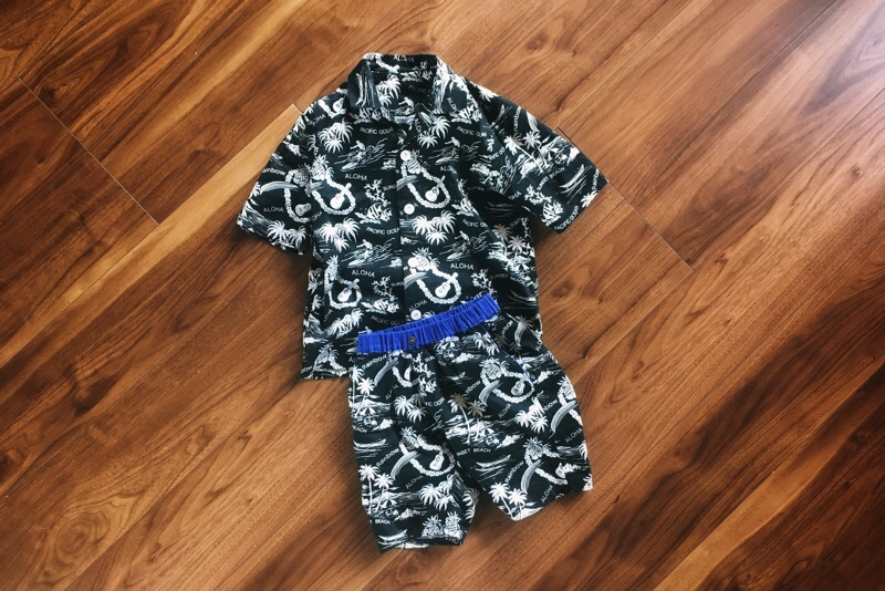 アロハシャツ,ハーフパンツ,セットアップ,キッズ,110サイズ,ブラック