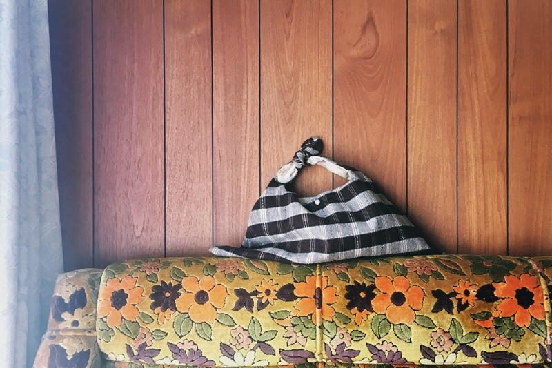 手提げ袋,ウール,チェック柄,秋冬用,ナルセアヤコデザイン