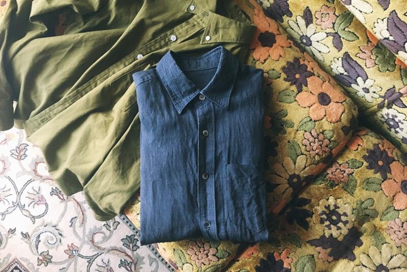 ハンドメイド,メンズシャツ,リネンローン,オールシーズンのメンズ服