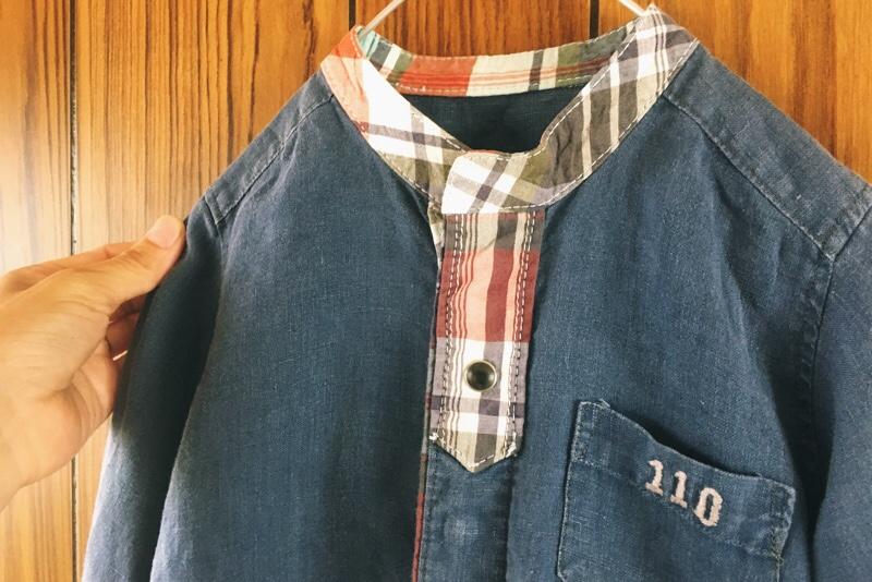 子供服,ハンドメイド,110サイズ,スタンドカラーシャツ