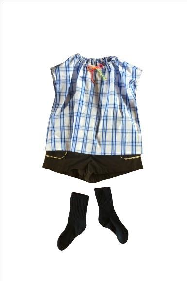 パターンレーベル,子供服型紙,半袖ブラウス,ショートパンツ