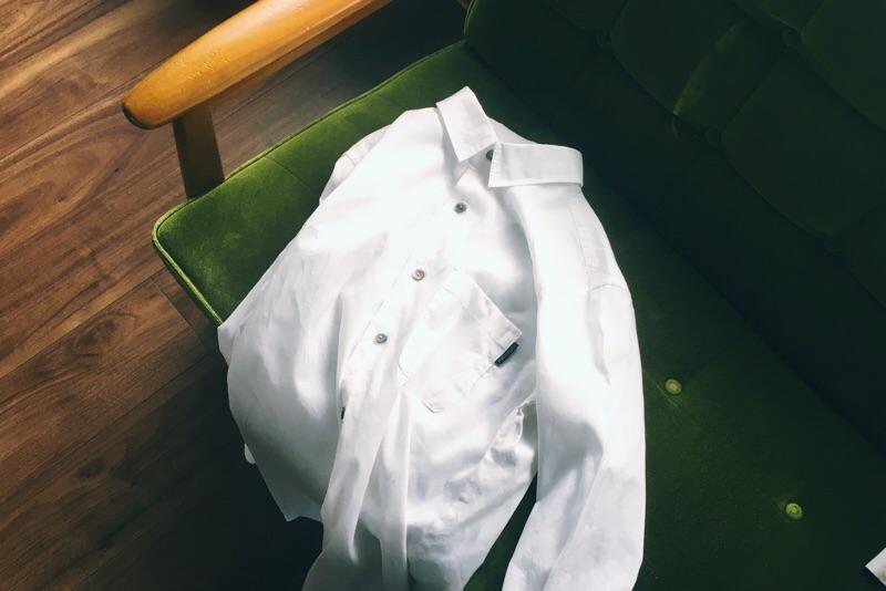 リネン白シャツ,ハンドメイド,メンズシャツ