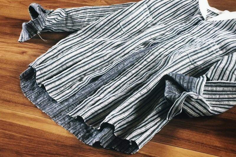 製作途中,メンズシャツ,ストライプ,綿麻,スタンドカラー