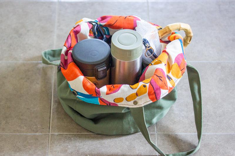 バケツ型トートバッグ,内容量,バッグの中身