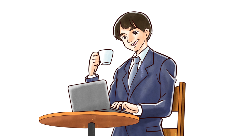 PCを操作している男性のイラスト(今はまだ真偽の判断が難しい状況)