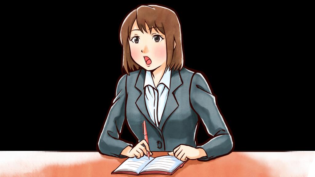 ライティングスキルも向上します。:ノートを取っている女性のイラスト
