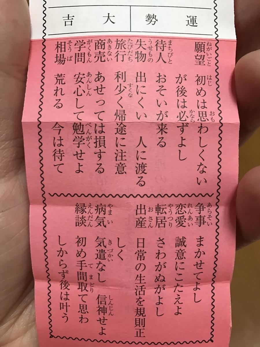 亀戸天神社の大吉のおみくじ