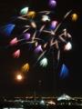 [八景島][花火大会]八景島に上がる月と花火