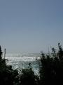 台風で海が荒れてる