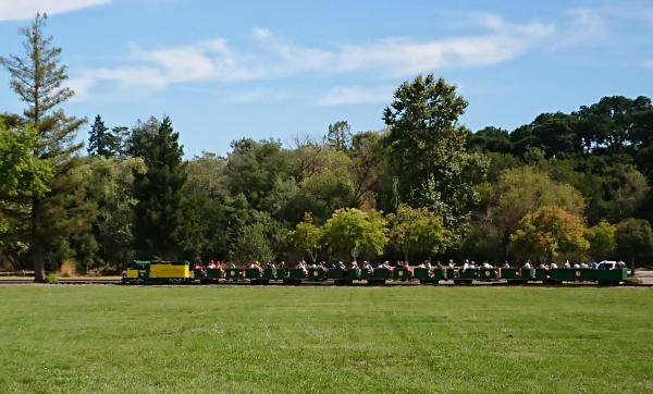 公園を横切る列車