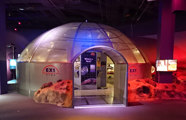 火星探査の体験コーナー