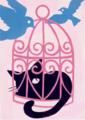 ピンク、クロネコ、青い鳥、アクリルガッシュ