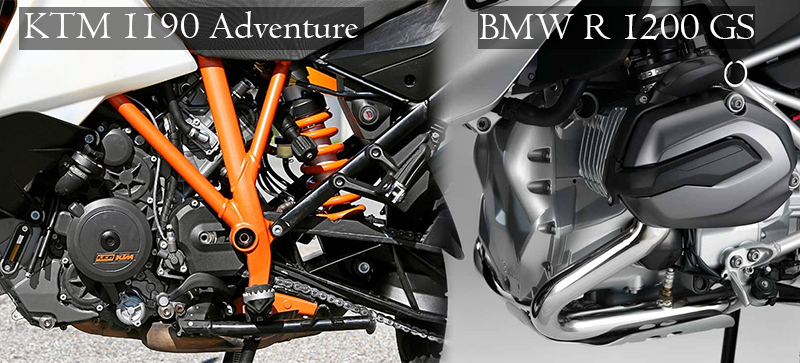 engine bmw r 1200 gs vs ktm 1190 adventure