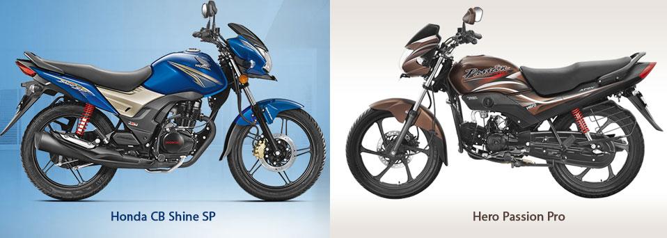 Honda CB Shine SP VS Hero Passion Pro