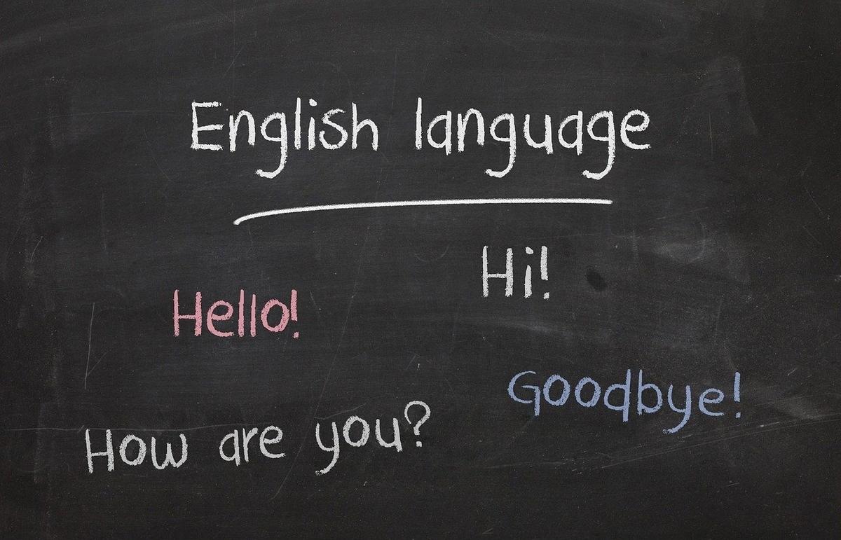 黒板に英語の文字