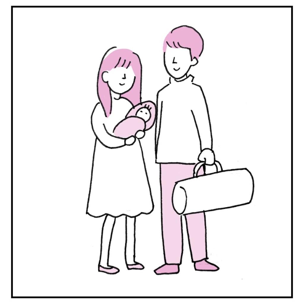 赤ちゃんを抱いた母親と父親