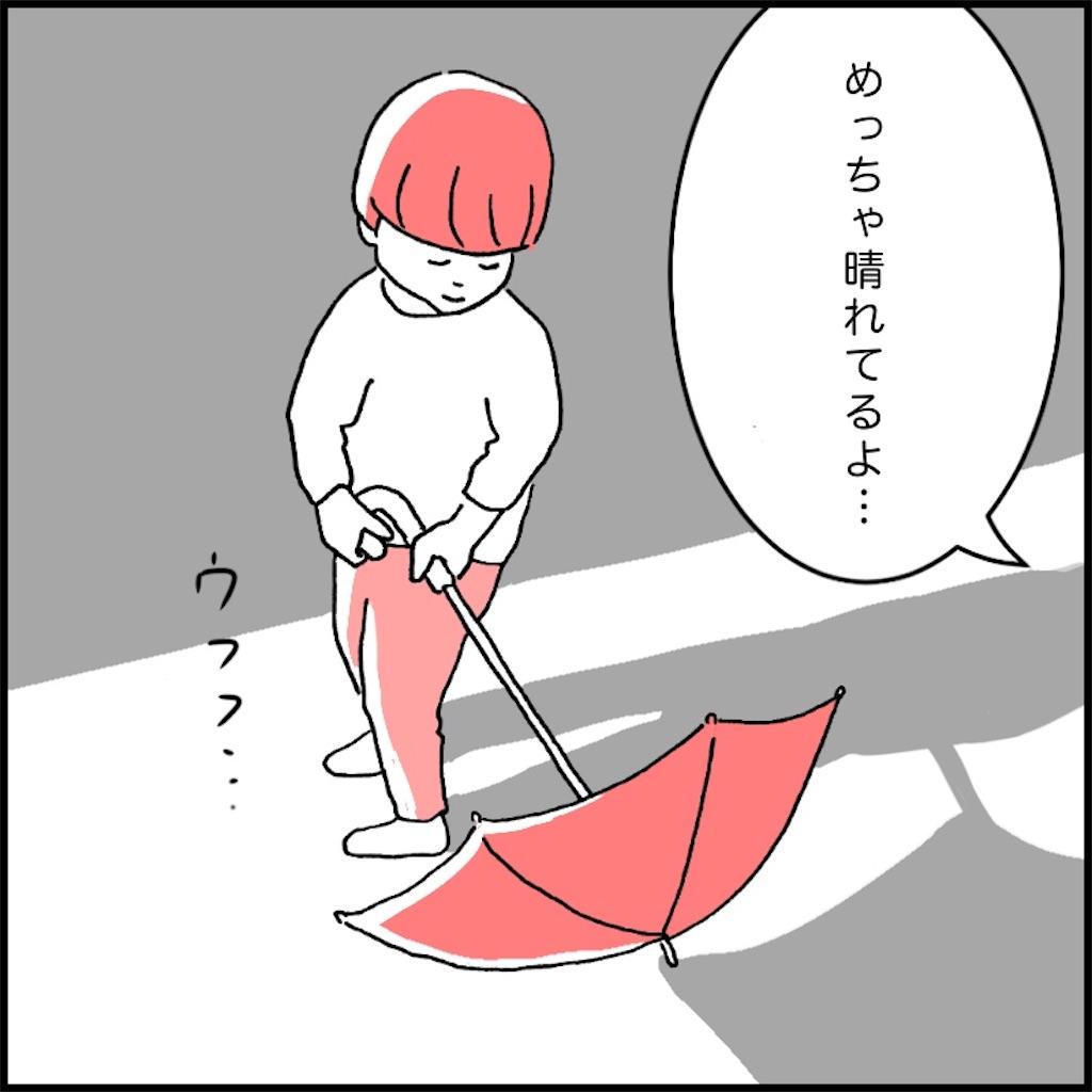 晴れた日に傘を持つ子供