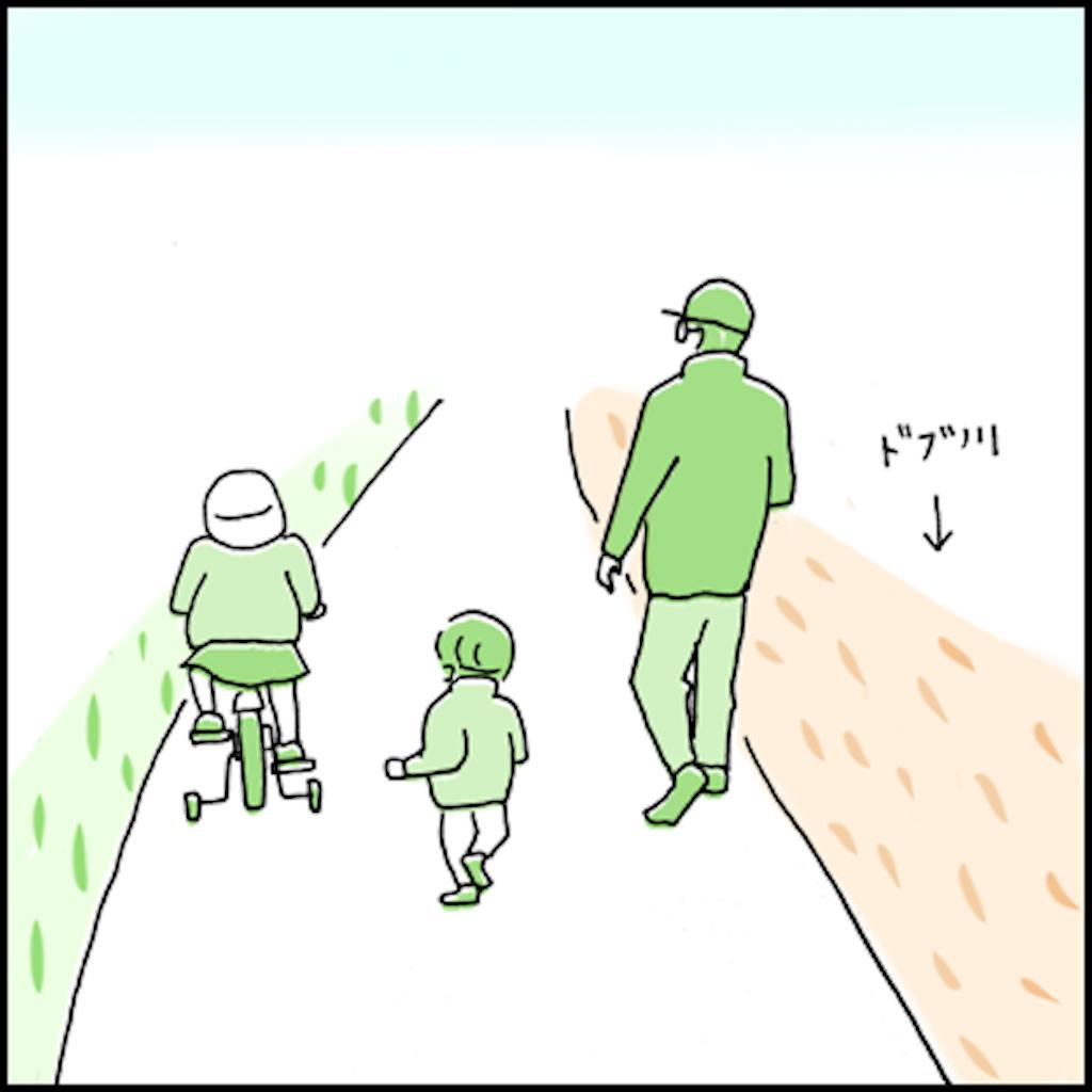 川沿いを歩く親子の後ろ姿