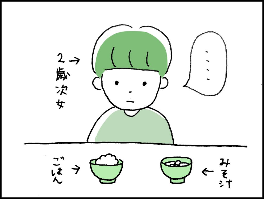 お味噌汁とご飯と子供