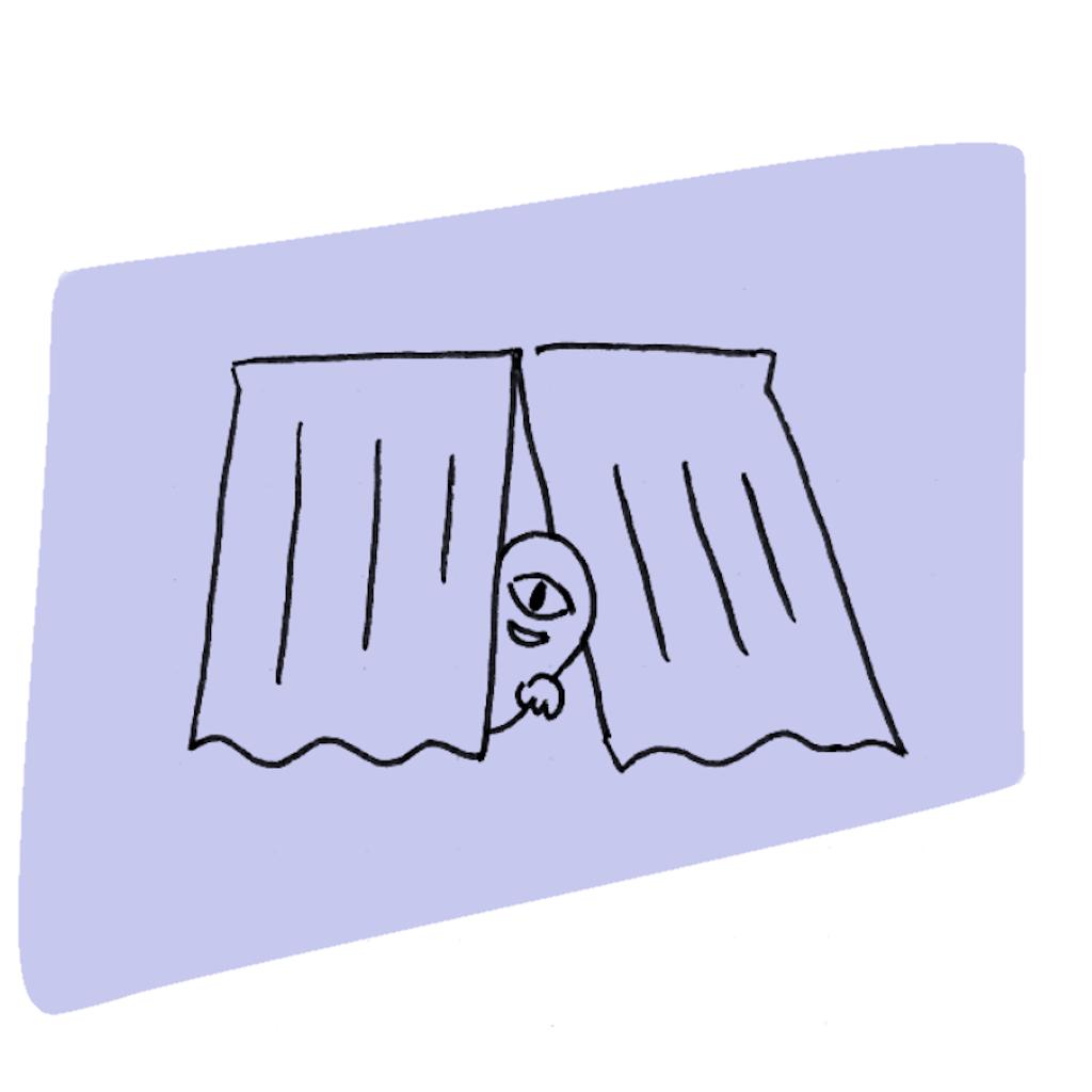 カーテンからお化けが出てくるイラスト