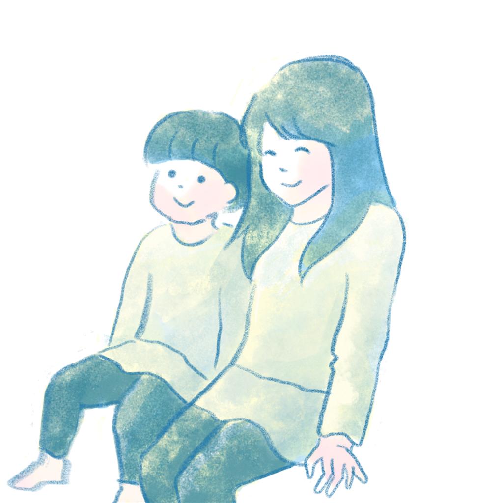 座る2人の子供
