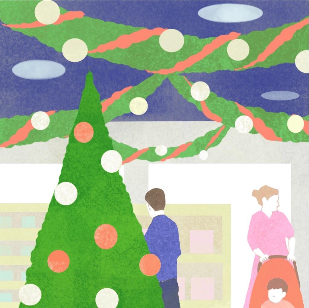 クリスマスの店内イラスト