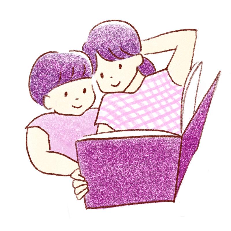 本を読む姉妹