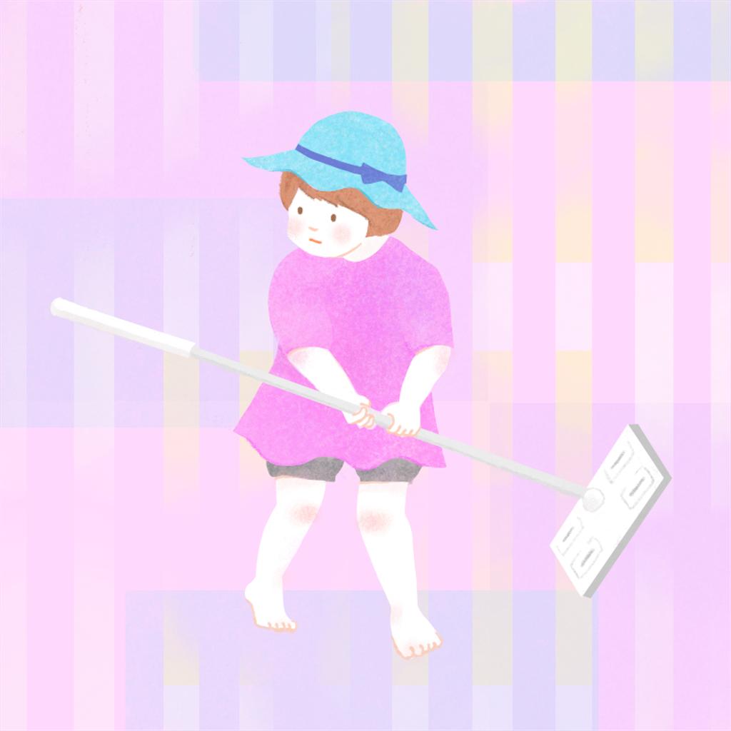 クイックルワイパーを持つ女の子