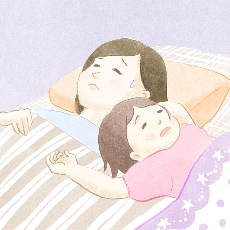 寝相が悪い子供と母親