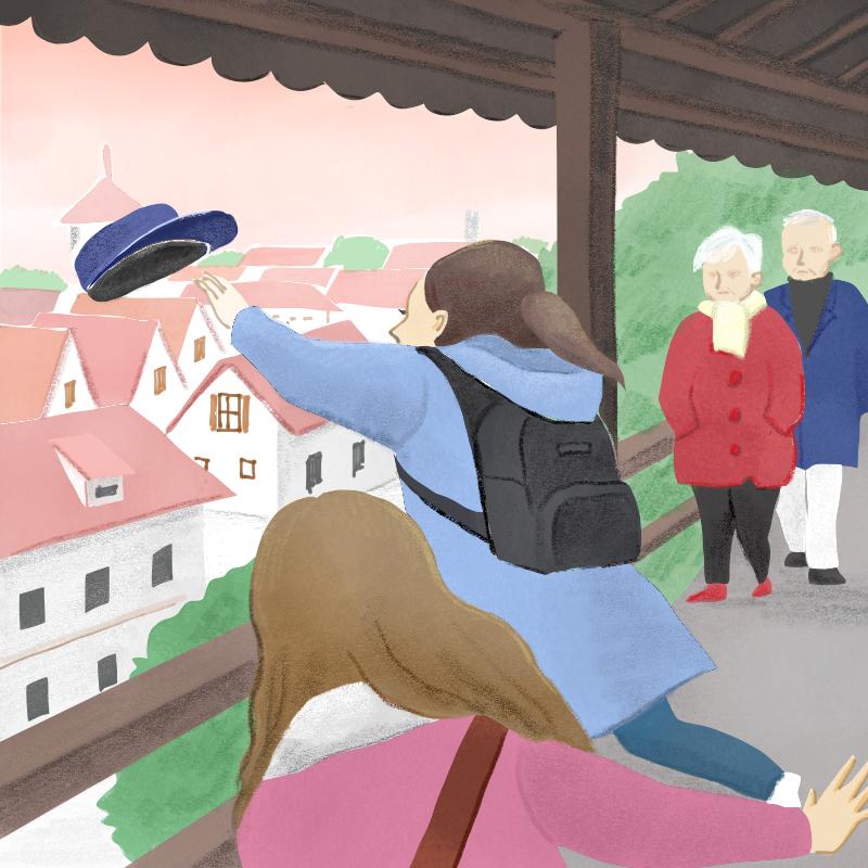 飛ぶ帽子をつかもうとする女性と赤い屋根
