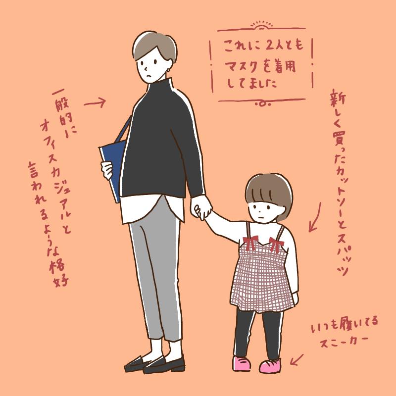 手を繋ぐ親子(服装注釈あり)