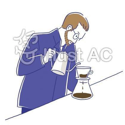 コーヒーをいれる男性