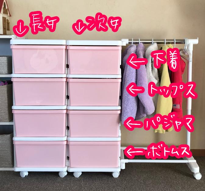 子供服収納ボックス(ピンク)収納場所