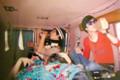 アンジー、ジョシュ、ペパロニと。SFへ遊びにいく車内にて。2005年位。
