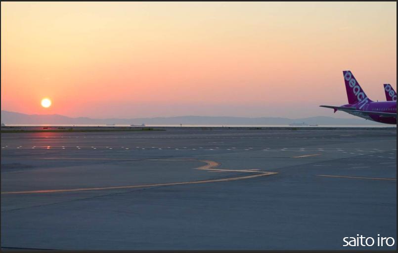 関西国際空港で見た夕日