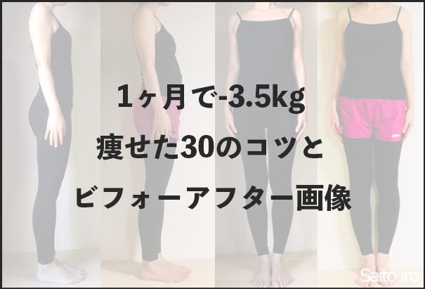 1ヶ月でマイナス3.5kg痩せたタイトル