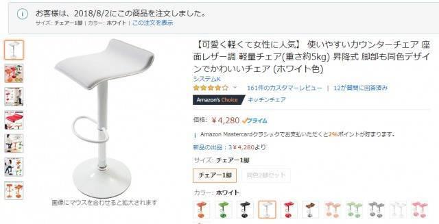 そして会社の立ち机用のイスは普通の安い「カウンターチェア」のホワイトです。