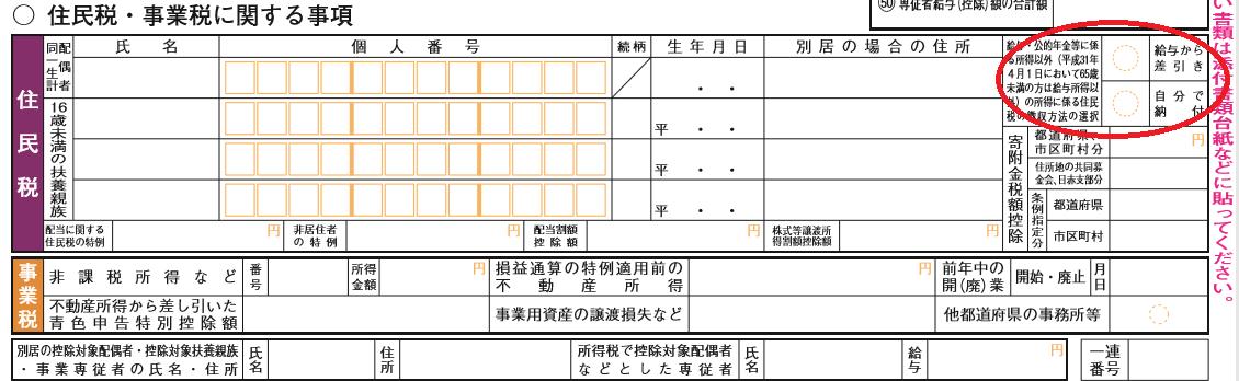 確定申告書の住民税に関する事項