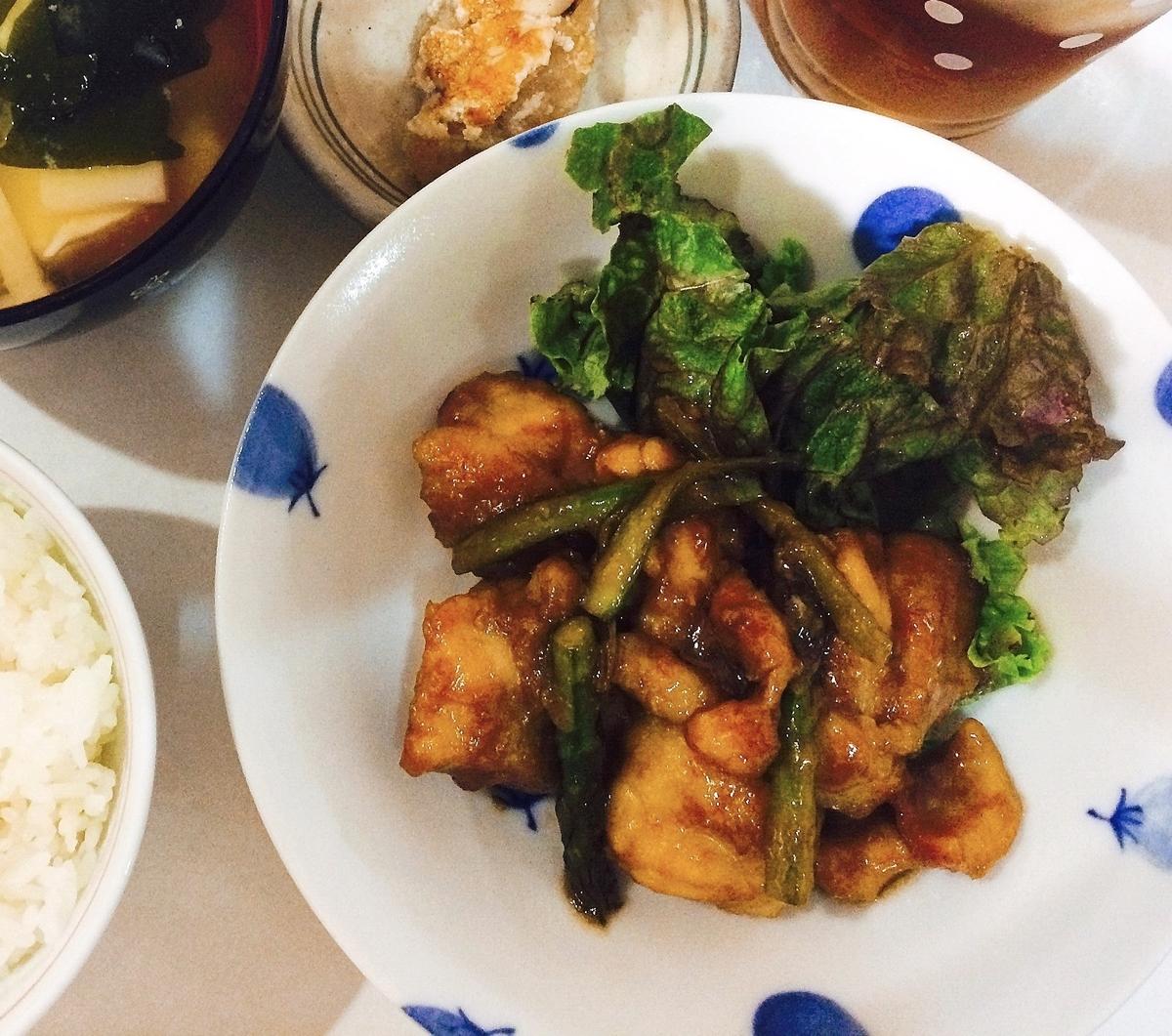 鶏肉とアスパラガスの照り焼き炒め