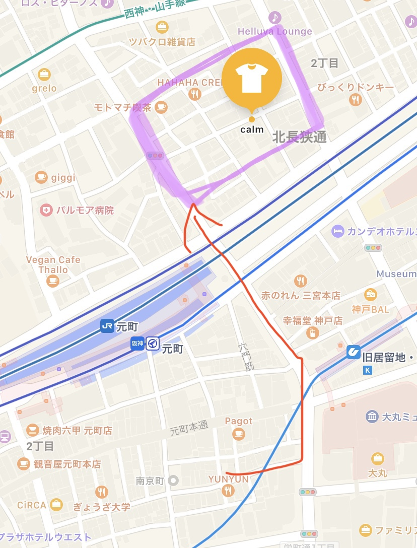 「南京町」から「calmkobe」への経路を示した地図