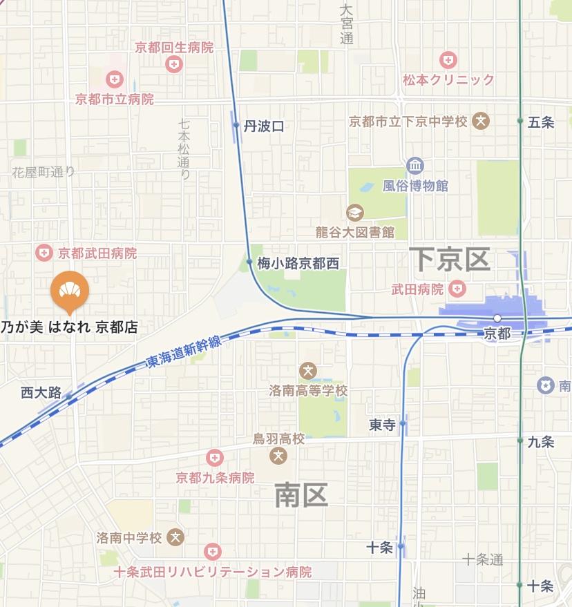 「乃が美」京都店の地図